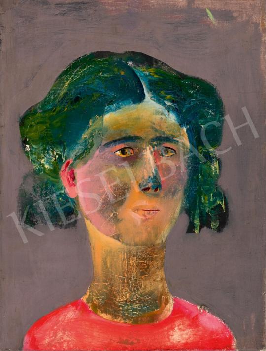 Sylvester Katalin  - Festőnő piros pulóverben, 1960-62 körül | 65. Aukció aukció / 14 tétel