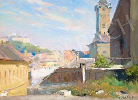 Edvi Illés Aladár - Tabán háttérben a Budai Várral, 1920 körül | 65. Aukció aukció / 21 tétel