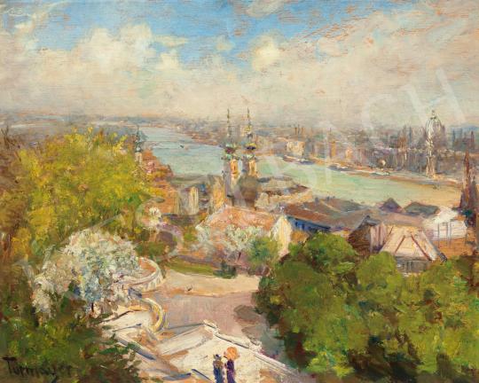 Turmayer Sándor - Kilátás a Budai Várból (Narancssárga napernyő), 1930 körül | 65. Aukció aukció / 22 tétel