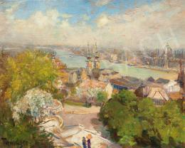 Turmayer, Sándor - View from the Buda Castle (Orange Umbrella), c.1930