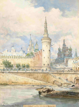 Alt, Franz - View of Moscow with the Kremlin and the Blazsennij Cathedral, 1894