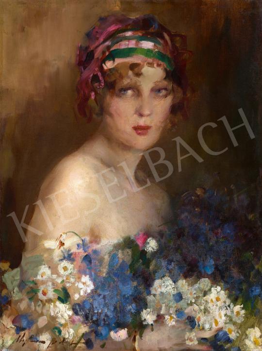 Vígh Bertalan - Lány mezei csokorral, 1930 körül | 65. Aukció aukció / 31 tétel