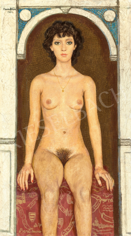 Czene, Béla jr. - Nude Sitting in front of Golden Mosaic, 1984