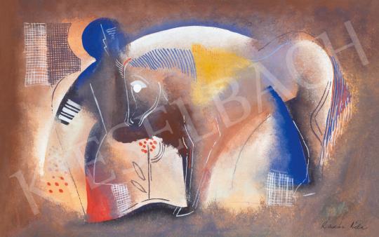 Kádár Béla - Art deco jelenet lóval és figurával, 1930 körül   65. Aukció aukció / 37 tétel