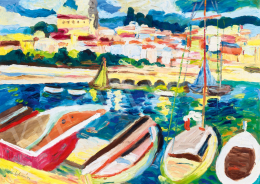 Schéner, Mihály - Harbor with Sailboats in South-France (Menton)