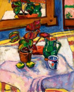 Tihanyi, Lajos, - Still-Life with Flower, Jug and Lemons, 1909