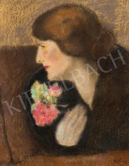 Rippl-Rónai József - Fiatal nő virággal, 1925