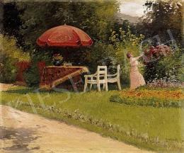 Zorkóczy Gyula - Délután a kertben