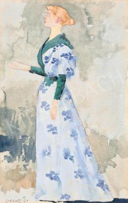 Vaszary János - Fiatal nő virágmintás ruhában