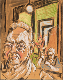 Scheiber, Hugó - Self-Portrait with Pipe (Infront of the Mirror)