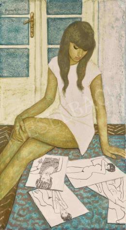 Czene Béla - Olvasó lány a műteremben, 1972