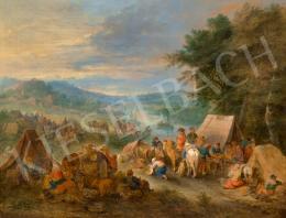 Michau, Theobald - Folyóparti táj táborozókkal