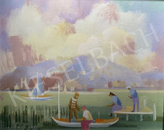 Eladó  Pleidell János - Balaton vitorlással, 1987 festménye