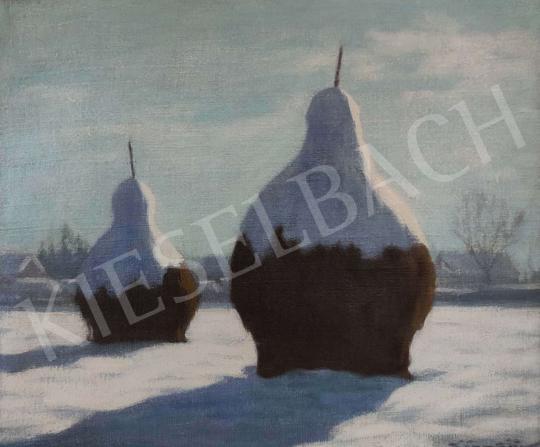 For sale  Börtsök, Samu - Winter Landscape (Hayrick) 's painting