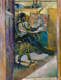 Scheiber Hugó - Festő a műteremben, 1919 körül