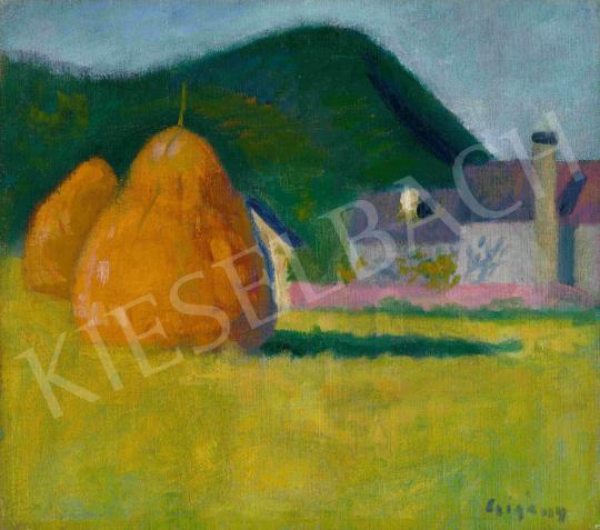 Eladó  Czigány Dezső - Nagybányai táj szénaboglyákkal, háttérben a Keresztheggyel, 1900 festménye