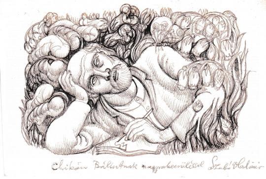 Eladó  Szabó Vladimir - Férfi a természetben (Önarckép) festménye