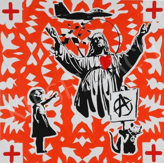 Eladó  drMáriás - Jézus Banksy műtermében, 2021 festménye