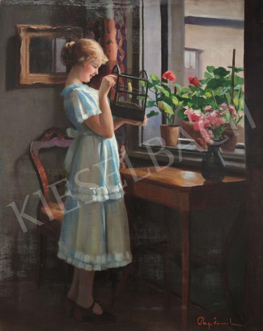 Eladó  Pap Emil - Lány ablakban madárral festménye