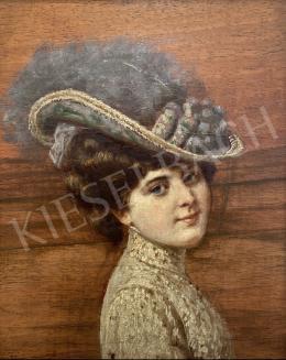 Ismeretlen festő - Nő kalapban