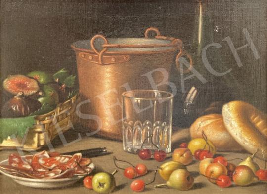 For sale  Unknown Italian Painter, the second half of the 19th century - Table Still Life with Fruits - The two paintings price together: HUF 2 700 000 Ft 's painting