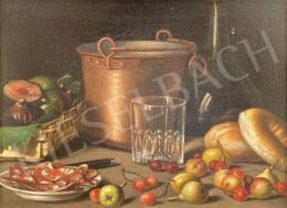 Ismeretlen olasz festő, 19.század második fele - Asztali csendélet gyümölcsökkel - A két kép együttes ára: 2 700 000 Ft