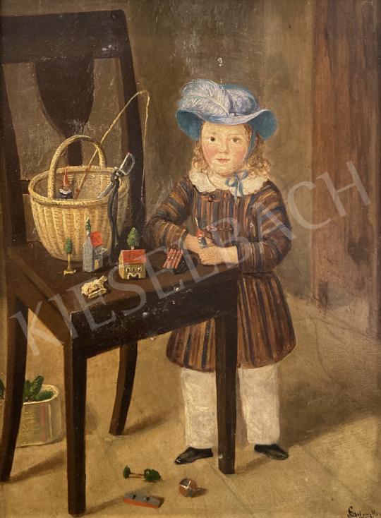 Eladó  Ismeretlen Közép-Európai festő - Kisgyerek játékokkal, 1845 festménye