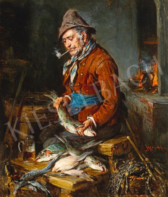 Eladó Kern Hermann - Egy korsó sör (Konyhában) festménye
