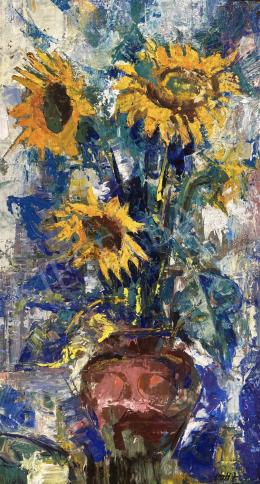 Vati József - Napraforgós virágcsendélet, 1979