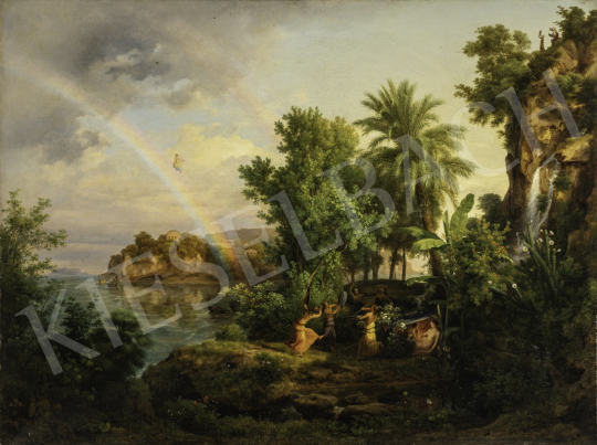 Id. Markó Károly - Eszményi táj szivárvánnyal és felemelkedó Aurórával, 1854 festménye
