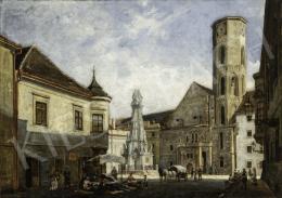 Schickedanz Albert - Budavári látkép a Schulek-féle átépítés előtti Mátyás-templommal, 1890-1892