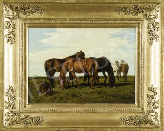 Lotz Károly - Magyar táj lovakkal (Alföldi ménes), 1860 körül festménye