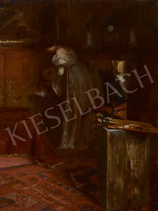 Spányik Kornél - Délutáni tea a műteremben (Újságot olvasó festő és múzsája), 1904 festménye