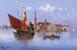 Unknown painter, about 1900 - The View of Venice with a Sailing Boat