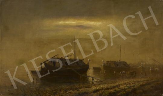 Katona Nándor - Hajók a Dunán, 1905 körül festménye