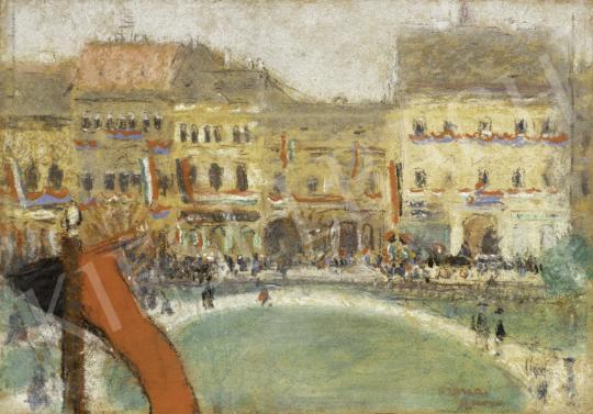 Rippl-Rónai József - Fellobogózott Kassa festménye