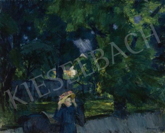 Eladó  Vaszary János - Kilovaglás előtt a tatai parkban (Séta a parkban, A tatai parkban), 1918 festménye