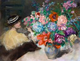 Csók István - Kalapos nő enteriőrben virágcsokorral, 1937