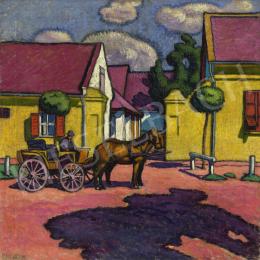 Pechán József - Napfényes utca lovasfogattal, 1911 körül