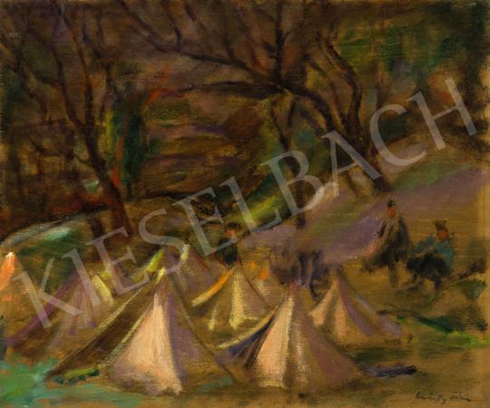 Márffy Ödön - Domboldal sátrakkal, 1916 körül festménye