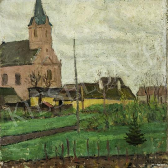 Pólya Tibor - Szolnoki látkép templommal, 1910 festménye