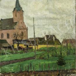Pólya, Tibor - Szolnok View with a Church, 1910