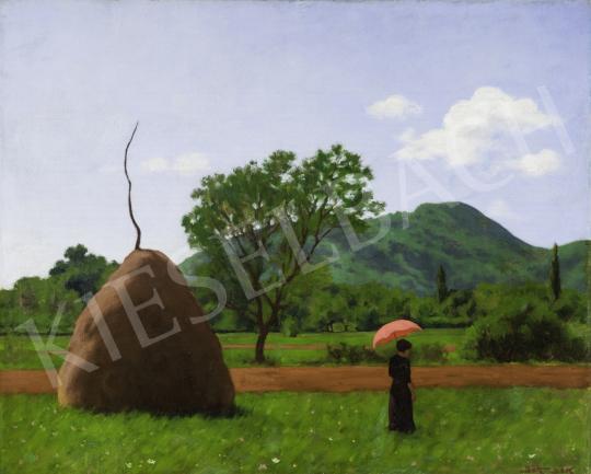 Börtsök Samu - A piros napernyő (Nagybánya) festménye