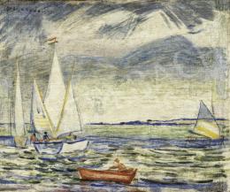 Vaszary János - Balaton vitorlásokkal, 1924 körül