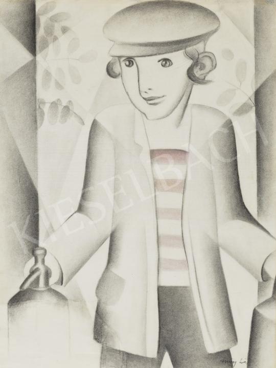 Szücsy Lili - Pajeszos kisfiú szódásüveggel, 1929 körül festménye