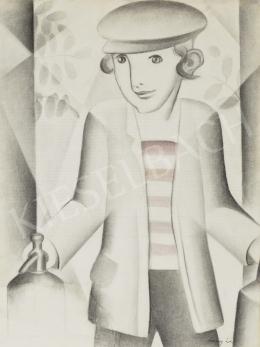 Szücsy Lili - Pajeszos kisfiú szódásüveggel, 1929 körül