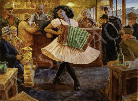 Strémi József - Éjszakai Párizs festménye