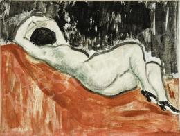 Vaszary János - Párizsi modell (Fekvő akt piros szőnyegen), 1930-as évek