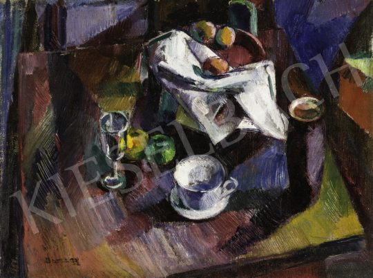 Eladó  Barcsay Jenő - Csendélet gyümölccsel és poharakkal, 1927 körül festménye