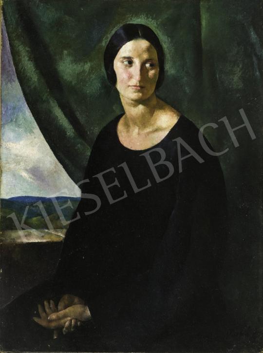 Patkó Károly - Női portré zöld drapériával háttérben tájképpel, 1922 festménye